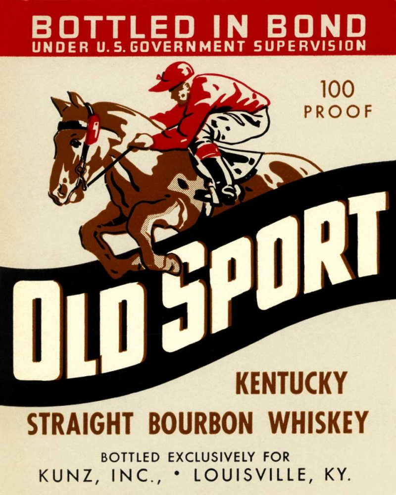 Old Sport Kentucky Straight Bourbon Whiskey Vintage Booze Labels 96841
