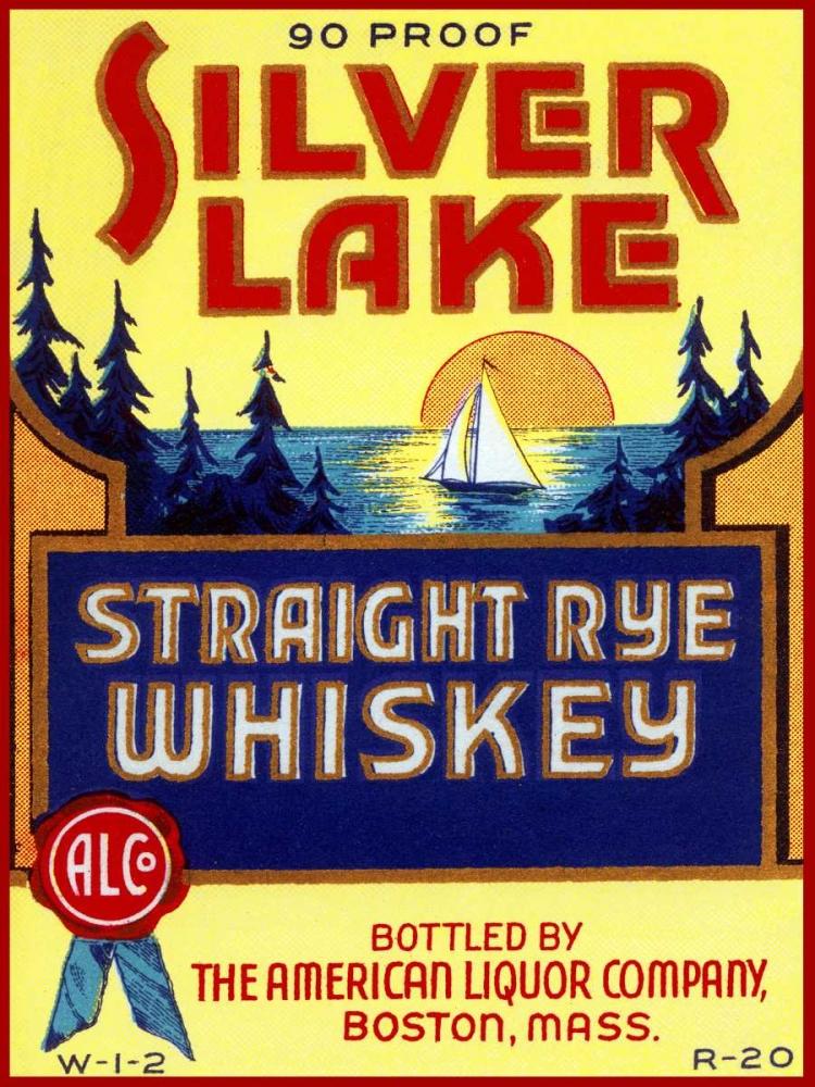 Silver Lake Straight Rye Whiskey Vintage Booze Labels 96845