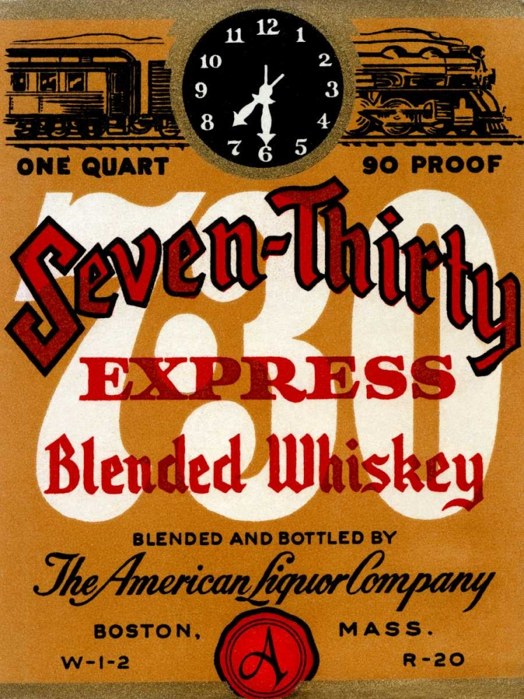 Seven-Thirty Express Blended Whiskey Vintage Booze Labels 96846