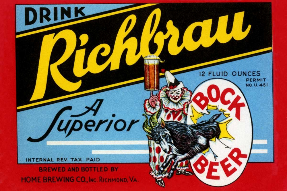 Drink Richbrau Bock Beer Vintage Booze Labels 96848