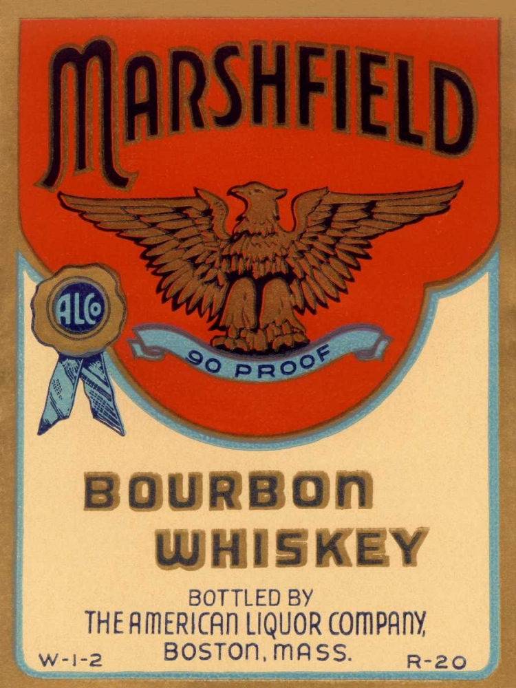 Marshfield Bourbon Whiskey Vintage Booze Labels 96849