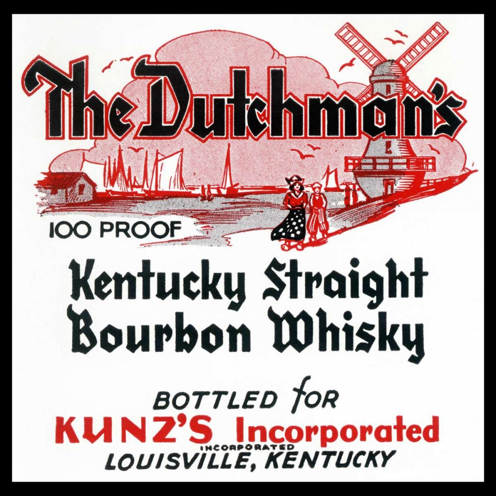 The Dutchmans Kentucky Straight Bourbon Whiskey Vintage Booze Labels 96851