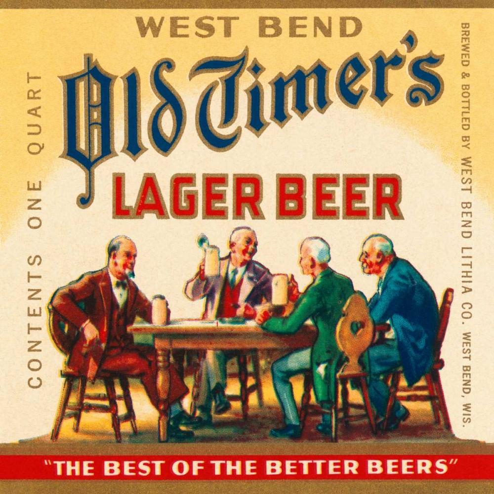 West Bend Old Timers Lager Beer Vintage Booze Labels 96857