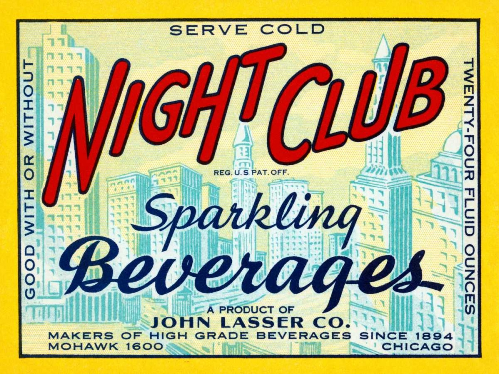 Night Club Sparkling Beverage Vintage Booze Labels 96858