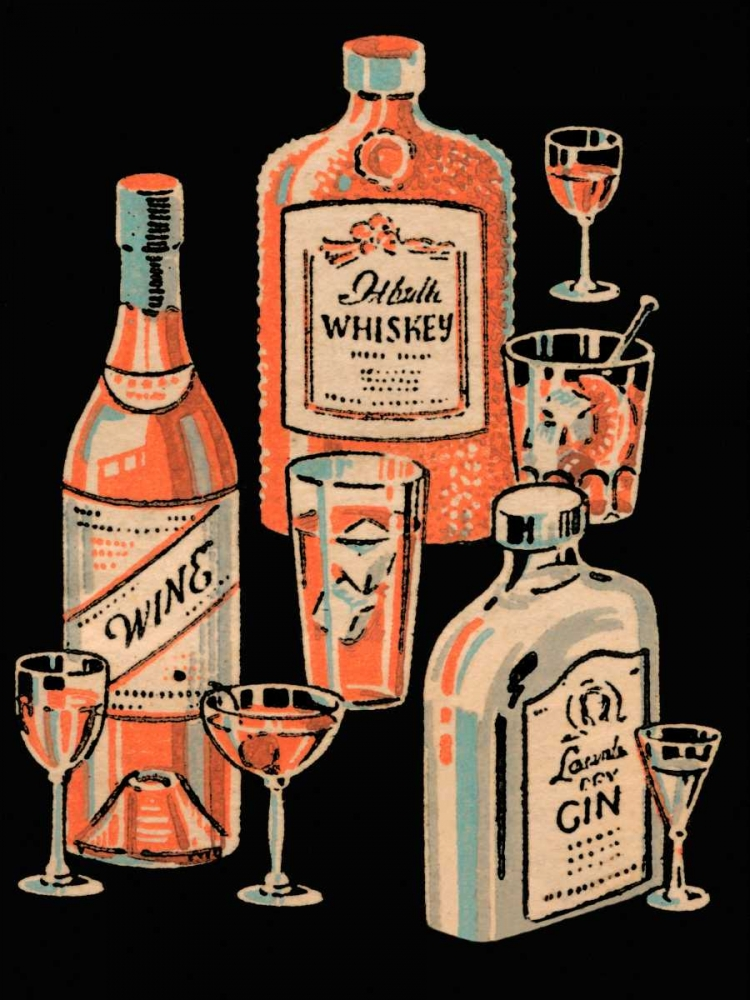 Whiskey, Wine and Gin Vintage Booze Labels 96874