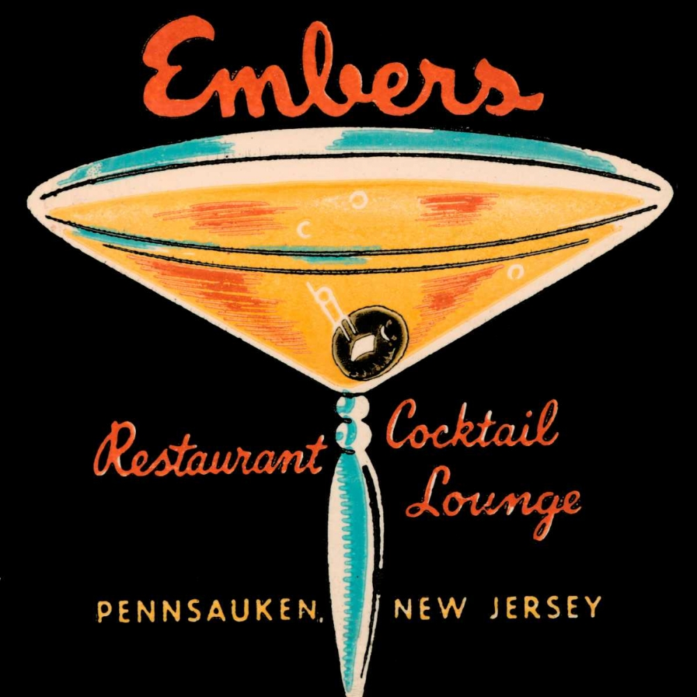 Embers Restaurant Cocktail Lounge Vintage Booze Labels 96875