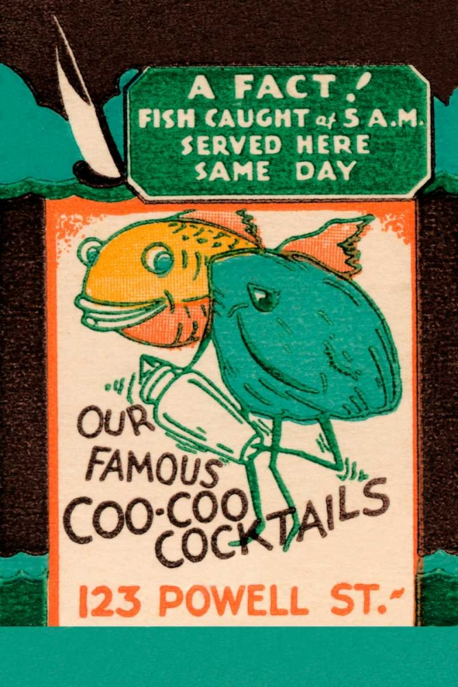 Our Famous Coo-Coo Cocktails Vintage Booze Labels 96876