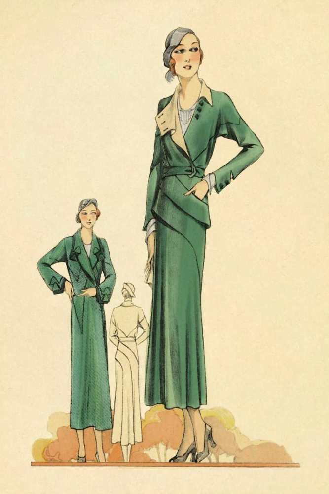 Green Dress and Overcoat Vintage Fashion 96923