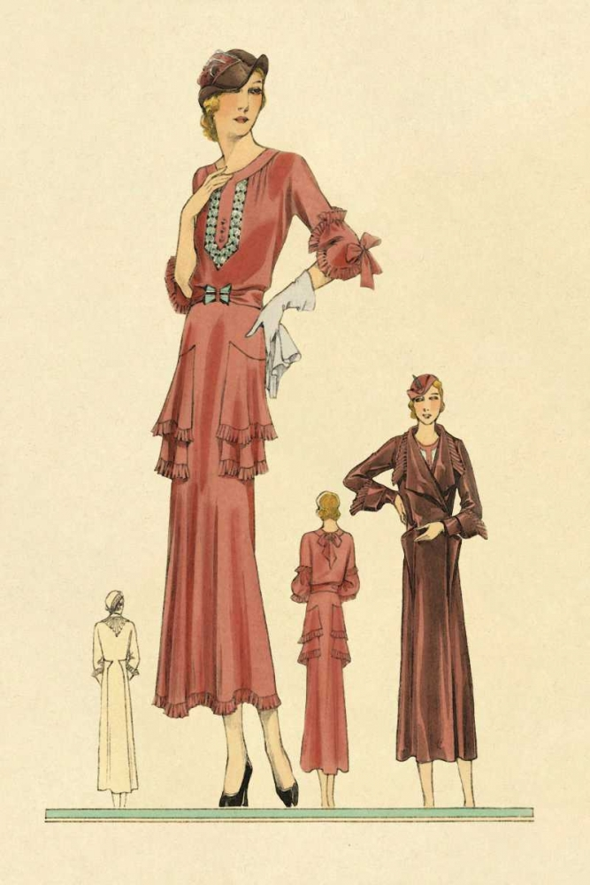 Pink Daytime Dress and Overcoat Vintage Fashion 96925