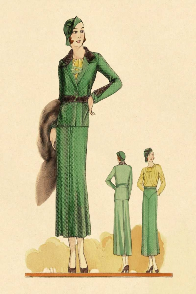 Sophisticated Green Suit with Stole Vintage Fashion 96929