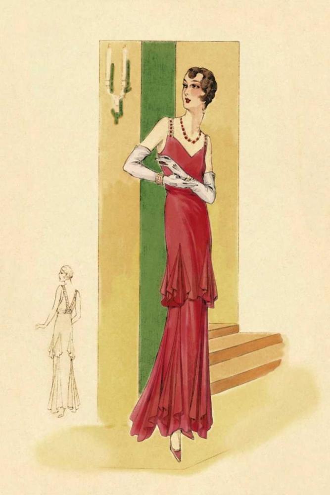 Scarlet Evening Gown Vintage Fashion 96944