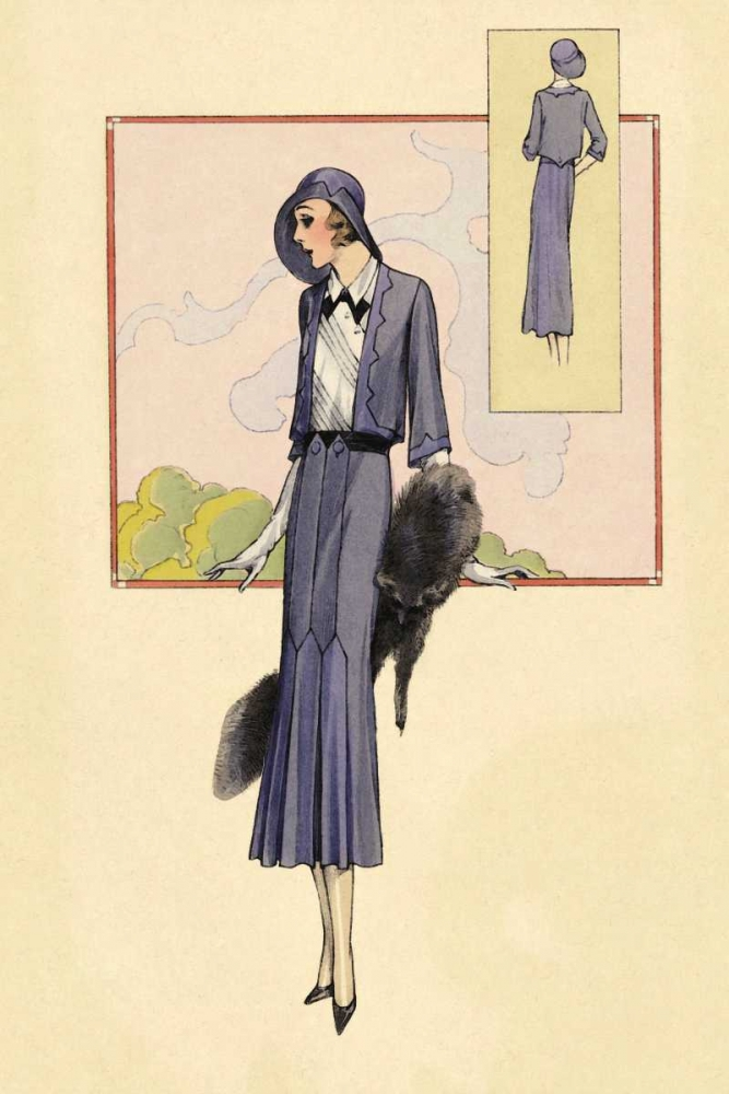 Stylish Blue Suit with Stole Vintage Fashion 96947