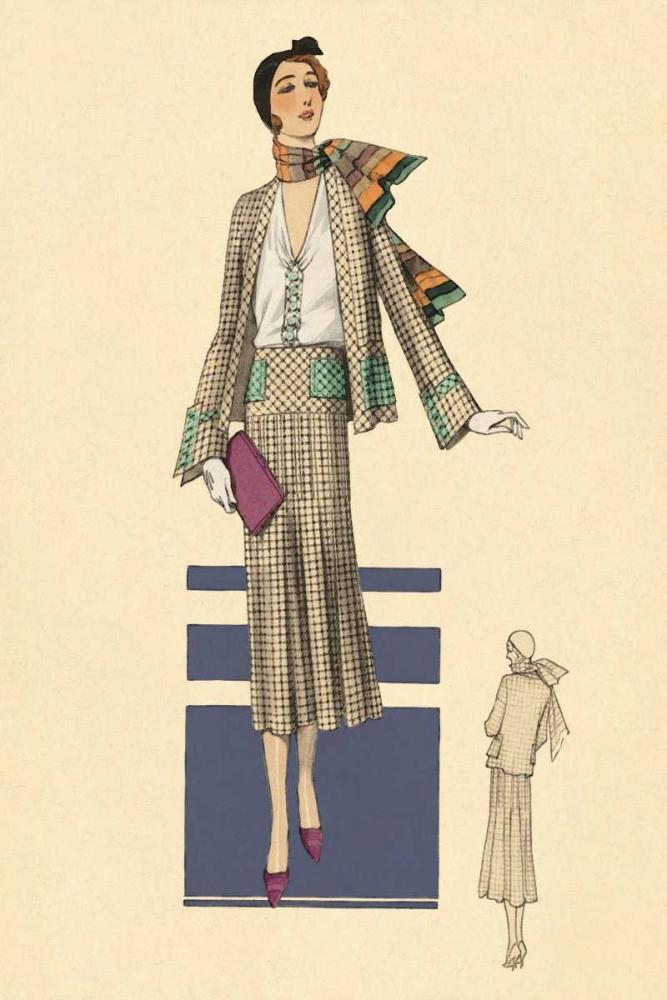 Stylish Daytime Suit and Scarf Vintage Fashion 96949