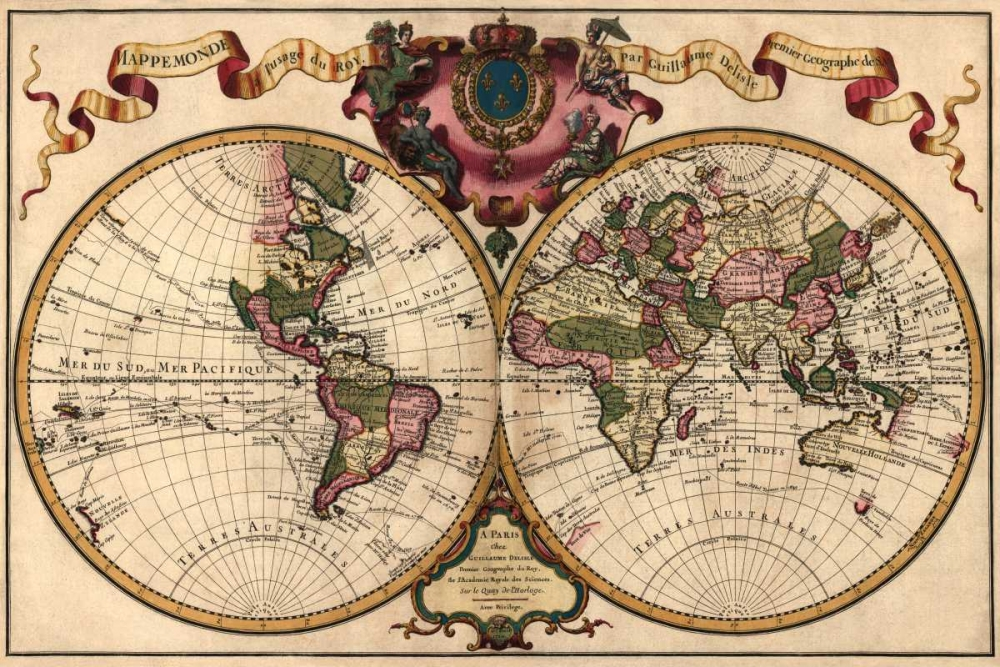 World Map Prepared for then French King De LIsle, Guillaume 96224