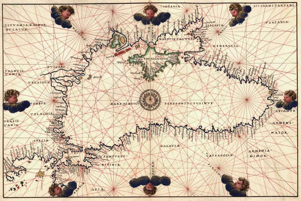 Portolan or Navigational Map of the Black Sea showing anthropomorphic winds Agnese, Battista 96010