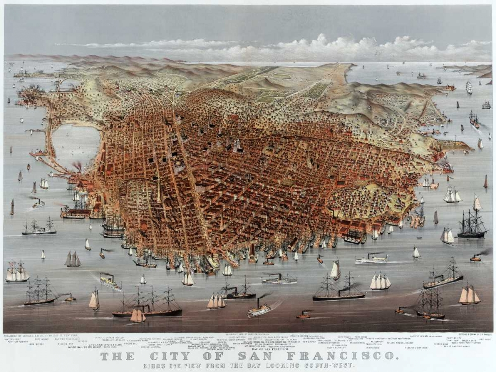 The City of San Francisco; Birds Eye View from the Bay Looking South-West Currier and Ives 96061