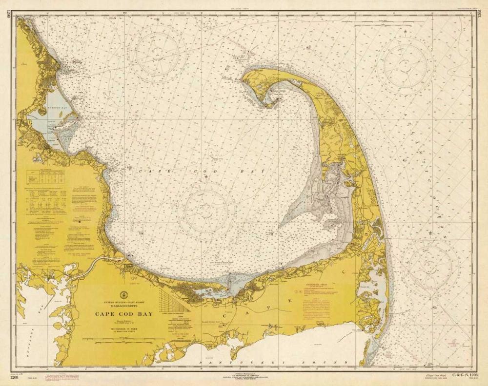 Nautical Chart - Cape Cod Bay ca. 1970 - Sepia Tinted NOAA Historical Map-Chart 93101