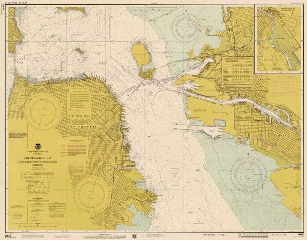 Nautical Chart - San Francisco Bay ca. 1975 - Sepia Tinted NOAA Historical Map-Chart 93104