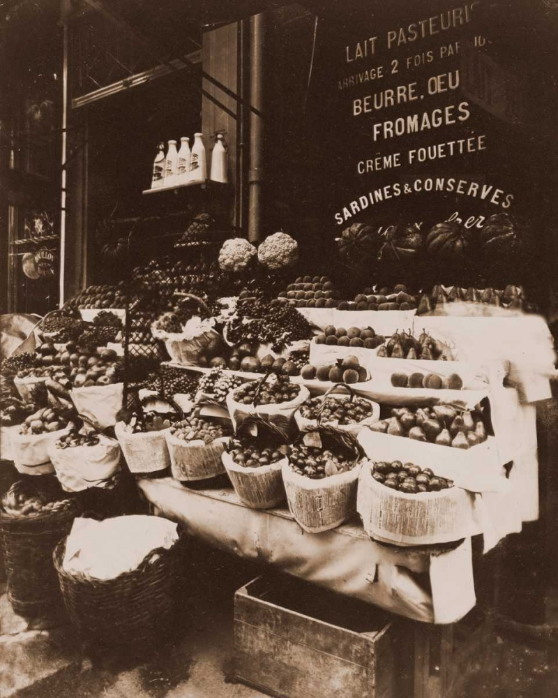 Rue Sainte-Opportune - Produce Display, rue Sainte-Opportune. Sepia Atget, Eugene 93164