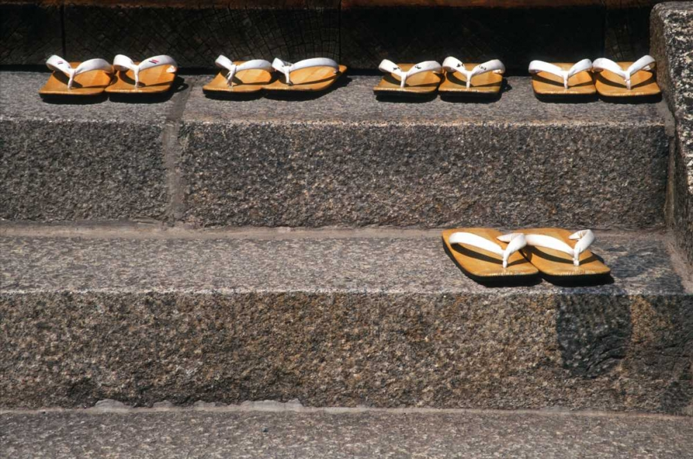 Japan, Kyoto Zori sandals on steps of a shrine Ross, Nancy - Steve 133541