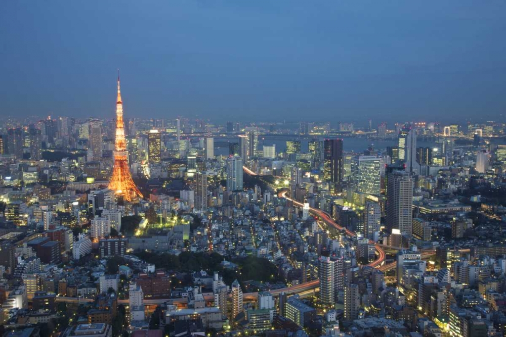Japan, Tokyo Sunset aerial of downtown Anon, Josh 126930