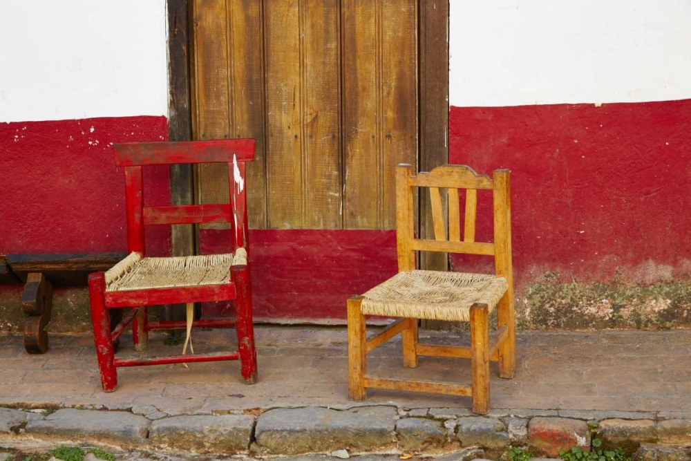 Mexico, Jalisco Rustic door and chairs Ross, Steve 133589