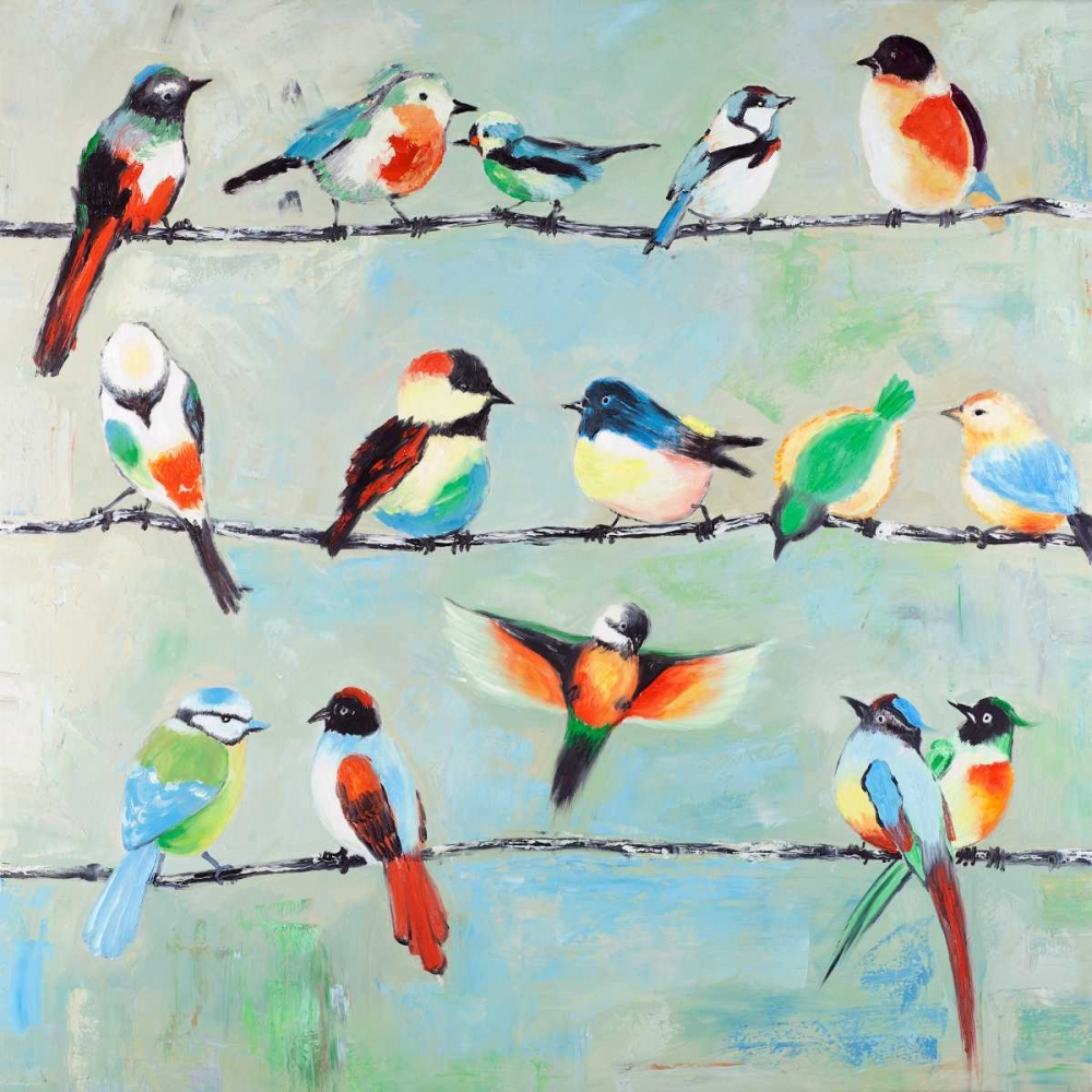 Small Abstract Colorful Birds Atelier B Art Studio 162994