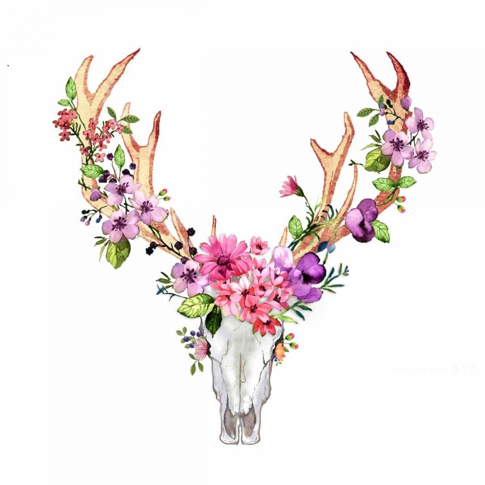 Deer Skull with Flowers Atelier B Art Studio 150809