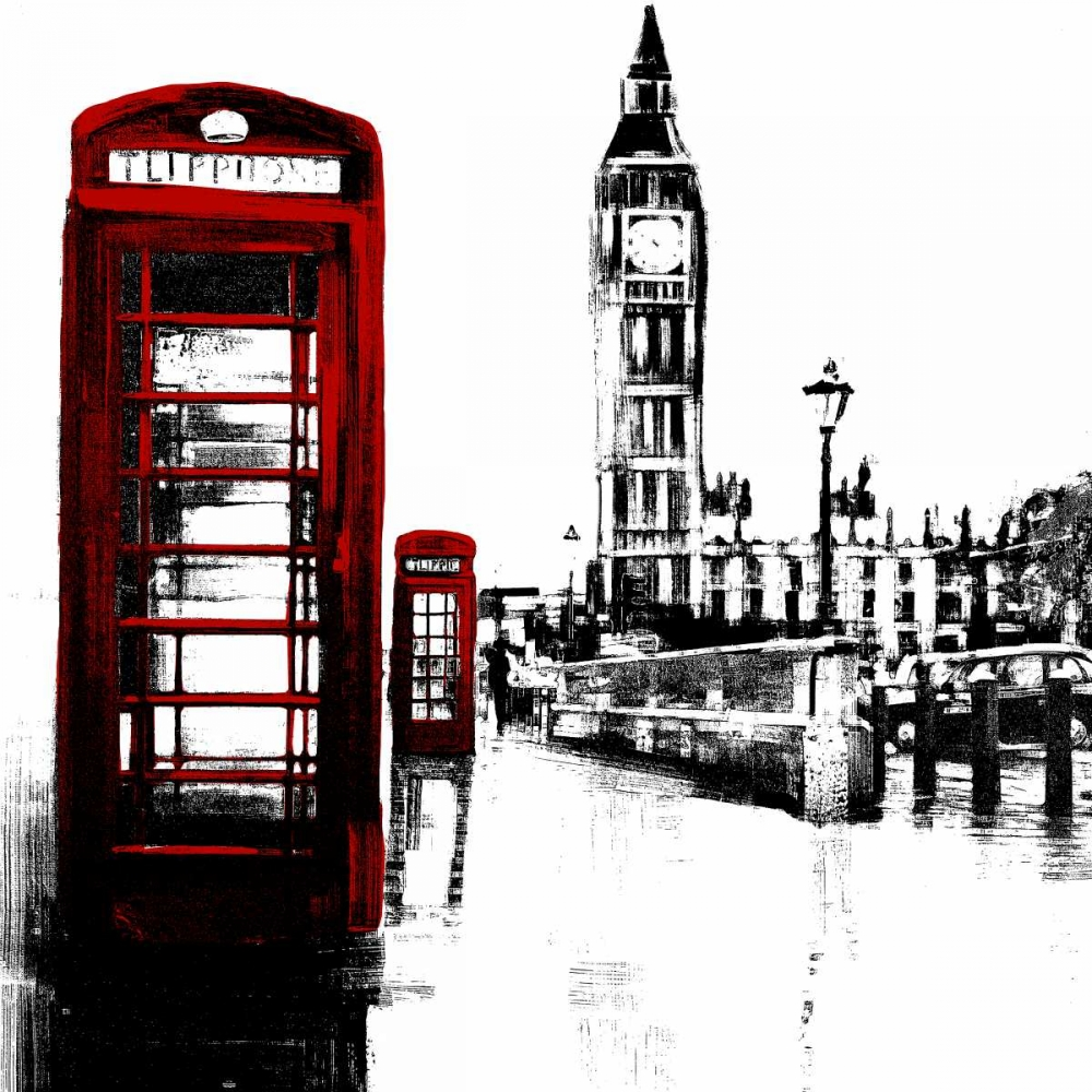 Telephone Box and Big Ben of London Atelier B Art Studio 150908