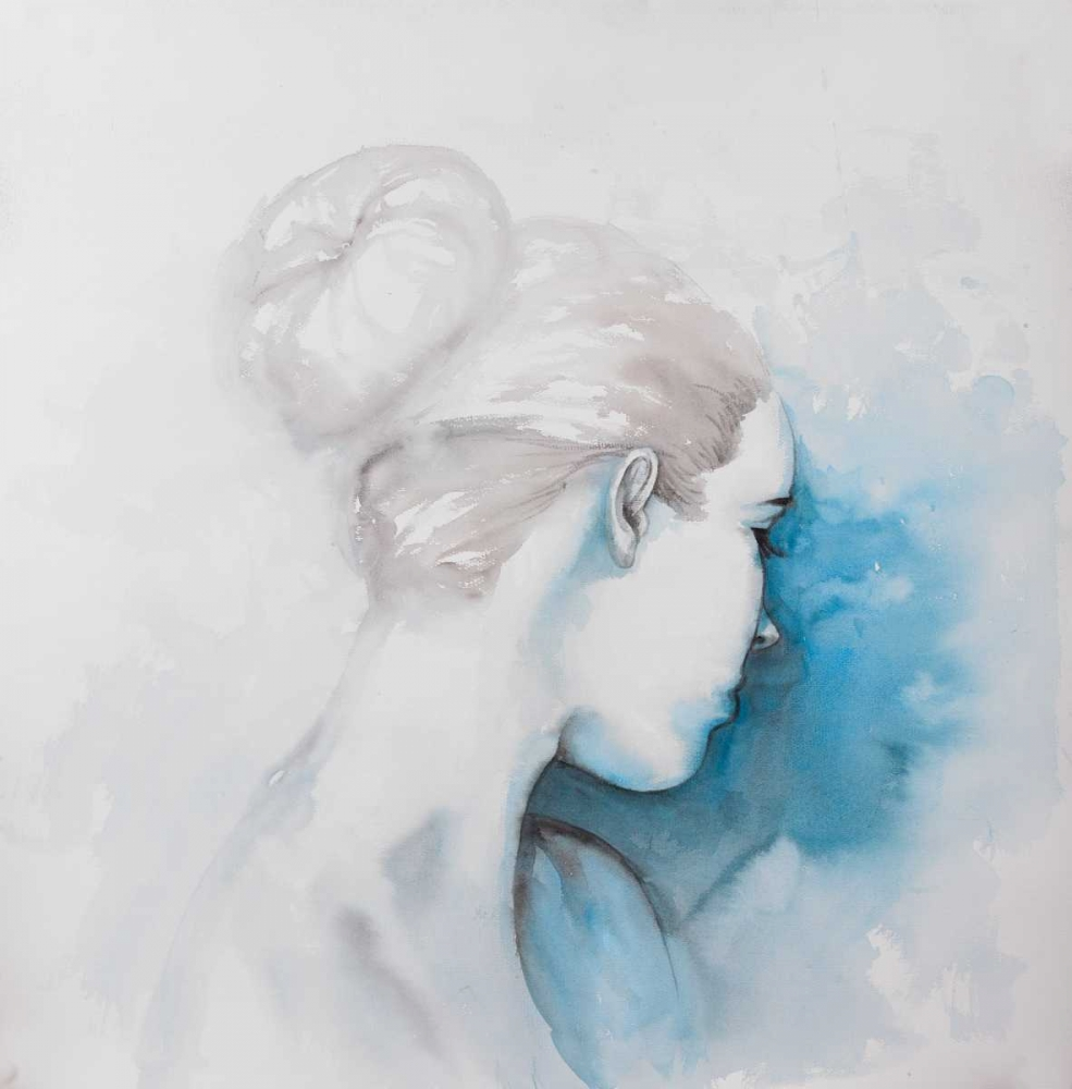 Watercolor Abstract Girl with Hair Bun Atelier B Art Studio 150973