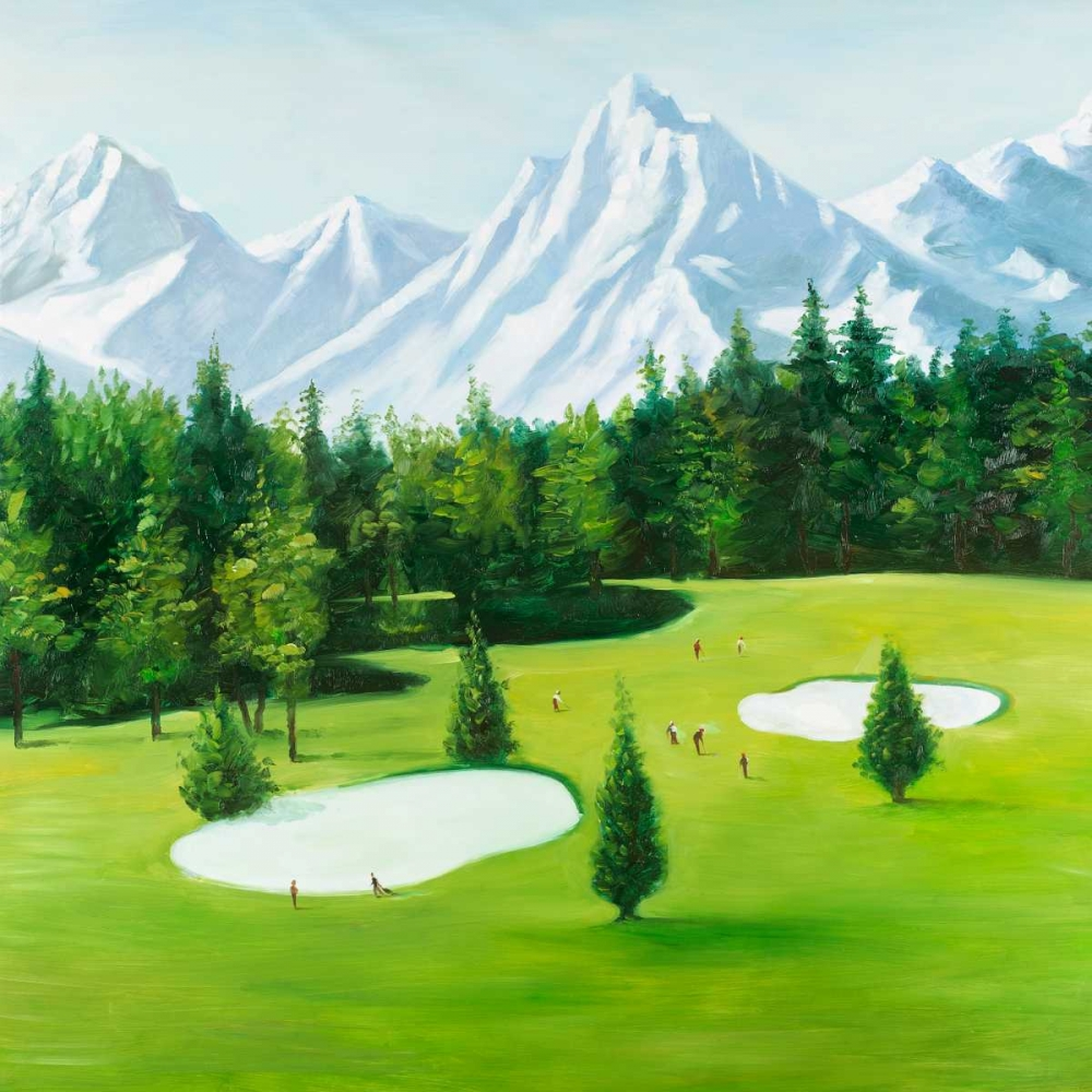 Golf Course with Mountains View Atelier B Art Studio 163072