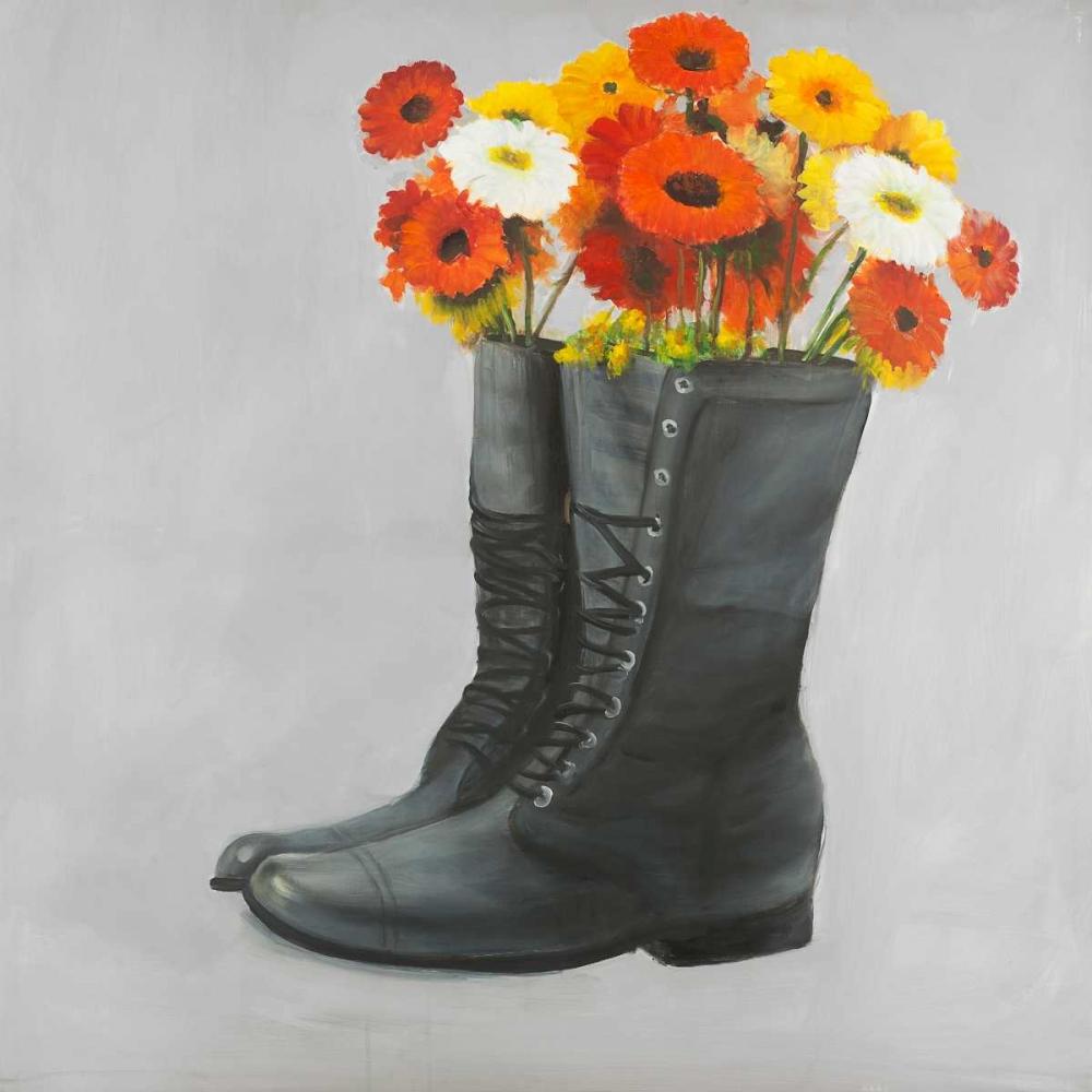 Boots with Daisy Flowers Atelier B Art Studio 151015