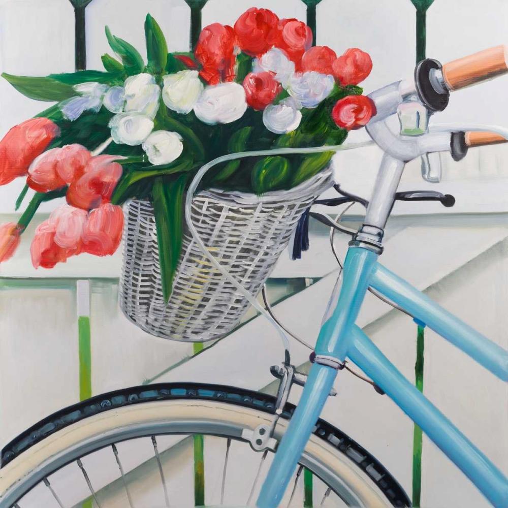 Bicycle with Tulips Flowers in Basket Atelier B Art Studio 151046